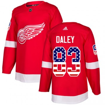 Authentic Adidas Youth Trevor Daley Detroit Red Wings USA Flag Fashion Jersey - Red
